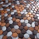 mosaico aluminio frente cocina ducha baño cm-oval-marron