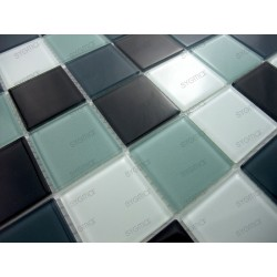 Mosaique carrelage verre 1 plaque NOIR 48