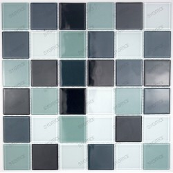 Mosaic tiles glass 1 plate black 48