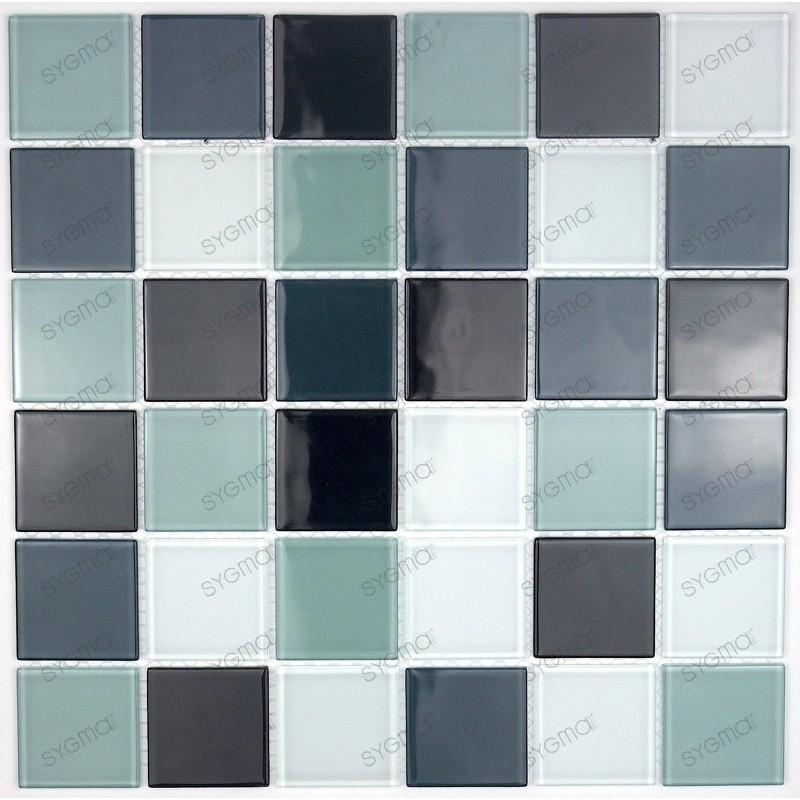 Mosaique carrelage verre 1 plaque noir 48 for Mosaique carrelage verre