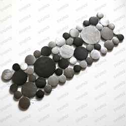 frise mosaïque aluminium mur et sol loop gris