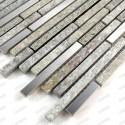 Mosaique carrelage pierre et inox 1 plaque RADUS