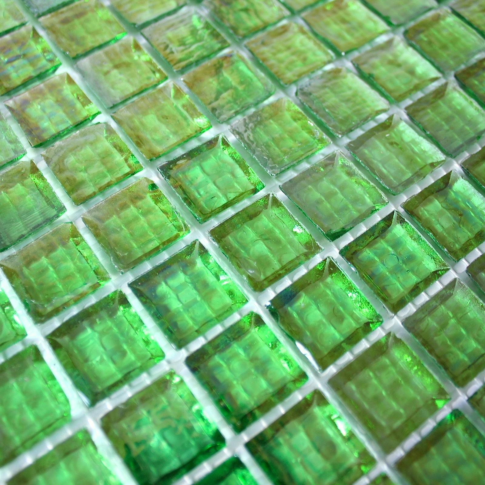 mosaique carrelage verre 1 plaque crytal vert 1sqm - carrelage-mosaique