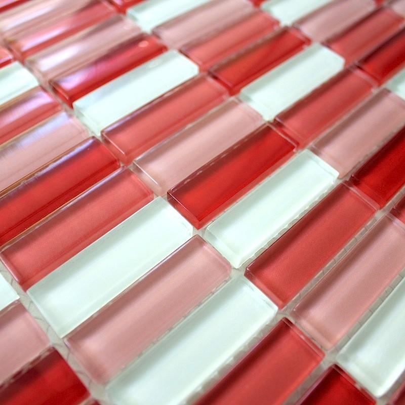 Mosaique salle de bain et credence cuisine 1m2 RECTANGULAR ROUGE ...