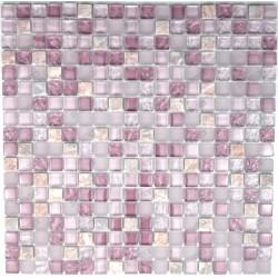 Carrelage mosaique verre et pierre 1 plaque Rossi