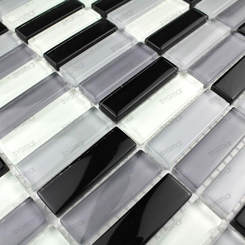 glass for kitchen 1m wall mosaic model 1m-rectnoir
