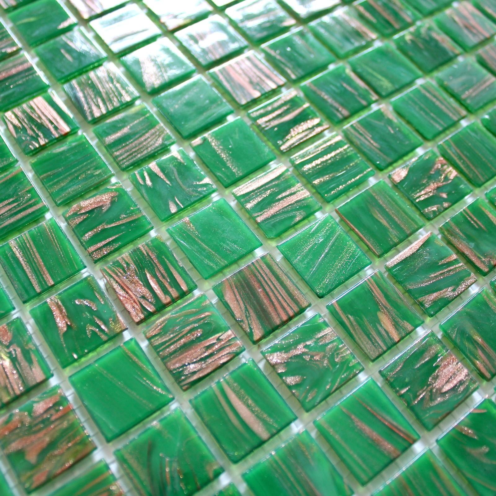 mosaique pate de verre piscine hammam vitro-vert-1m2 - carrelage