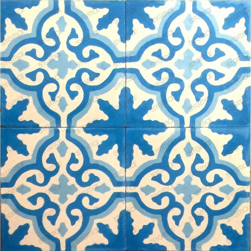 mosaico hidraulico 1m2 modelo flore-bleu