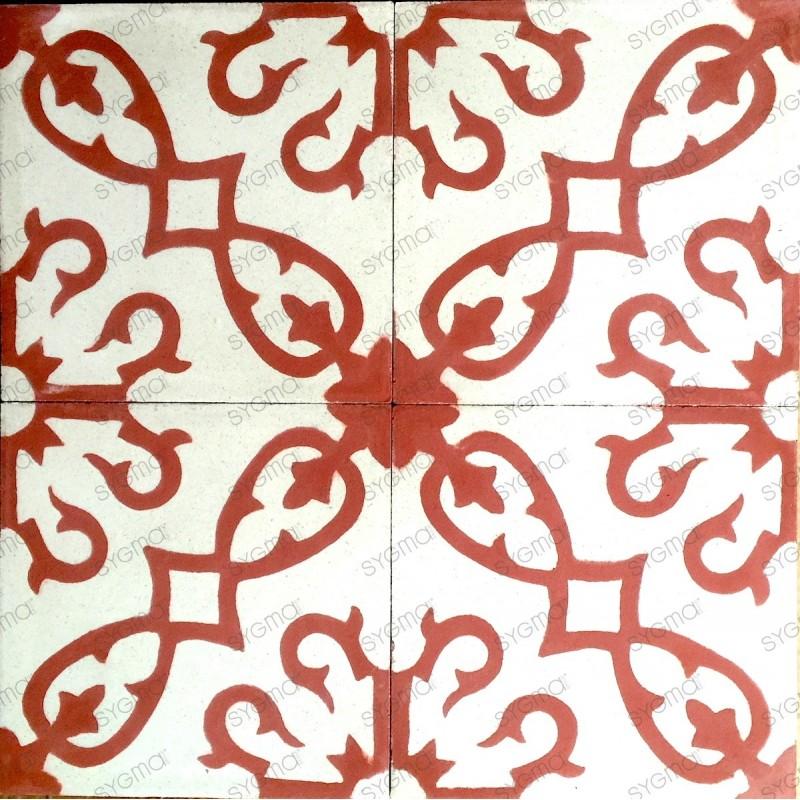 carrelage en ciment sol et mur 1m2  modele bess-rouge