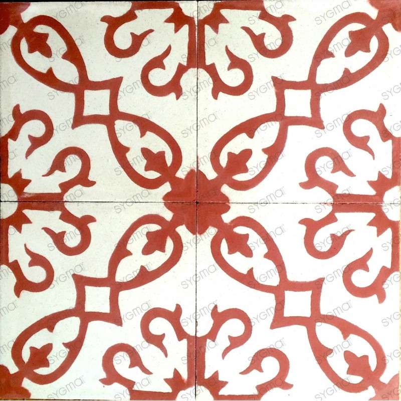 Cement tiles 1sqm model bess-rouge