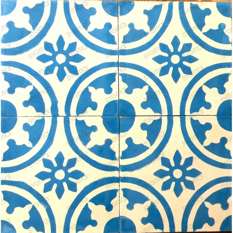 Cement tiles 1sqm model palma bleu carrelage mosaique for Carrelage mosaique