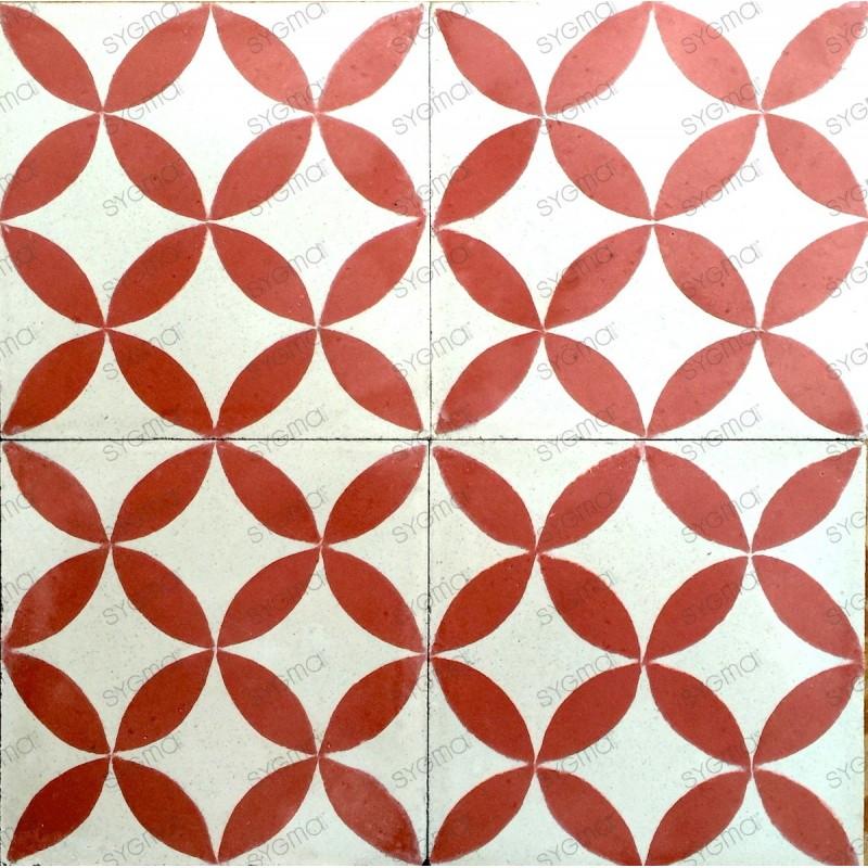 Cement tiles 1sqm model sampa-rouge