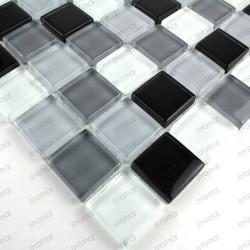Mosaique carrelage verre salle de bain douche noir-mix