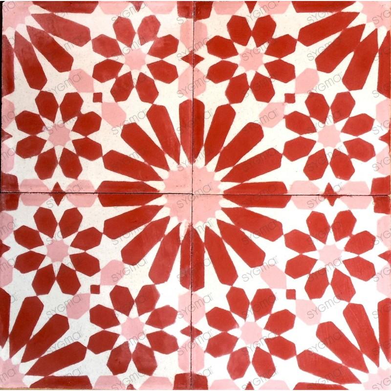 carrelage ciment 1m2 modele anso-rouge
