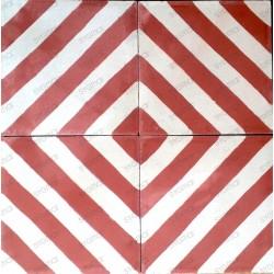 carreaux ciment 1m mur et sol modele chevron-rouge