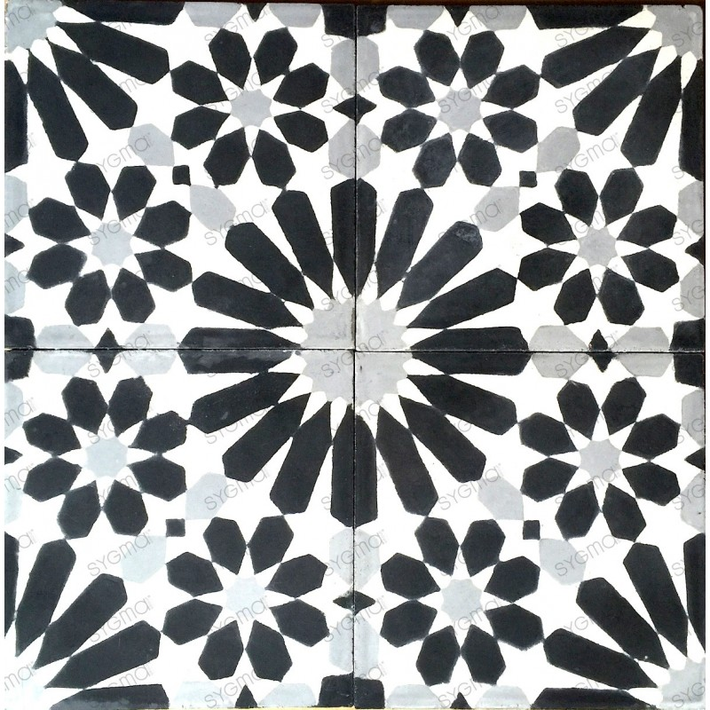Cement tiles 1sqm model anso noir carrelage mosaique for Carrelage mosaique