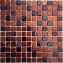Azulejo mosaico de vidrio y piedra METALLIC-MARRON