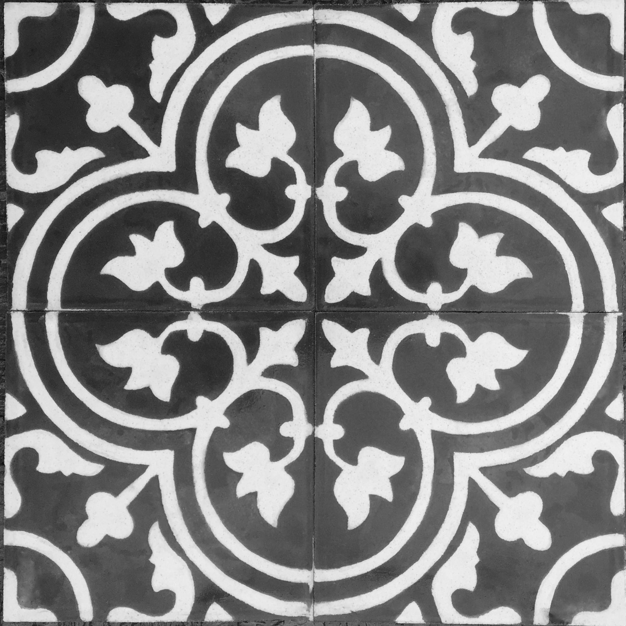 Carreaux Noir Et Blanc Cuisine vrai carreau ciment pas cher lys-noir - carrelage-mosaique