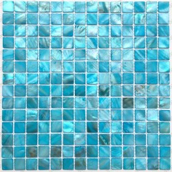 mosaic of Pearl tile shower bath Pearl Nacarat Bleu