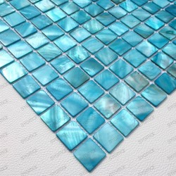 mosaic of Pearl tile shower bath Pearl Nacarat Bleu