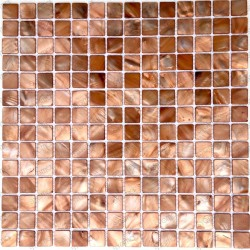 mosaic of Pearl tile shower bath Pearl Nacarat Marron