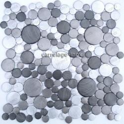 Plaque mosaique aluminium pour credence cuisine sdb et douche 1m loop gris