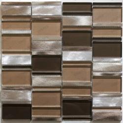 mosaïque de salle de bain et cuisine aluminium et verre Albi Marron