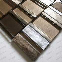 mosaic of bathroom and kitchen aluminum and glass Albi Marron