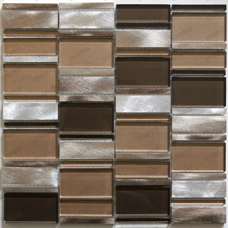 backsplash kitchen aluminium mosaic shower aluminium 1 sqm loop-grey