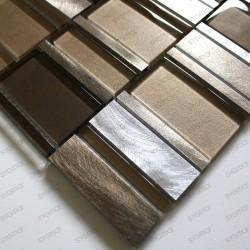 Mosaique d'aluminium et verre pour mur salle de bain et cuisine 1m Albi Marron