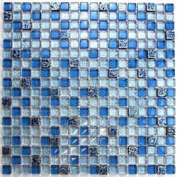 Mosaique bleu de verre et pierre mvp-eaton