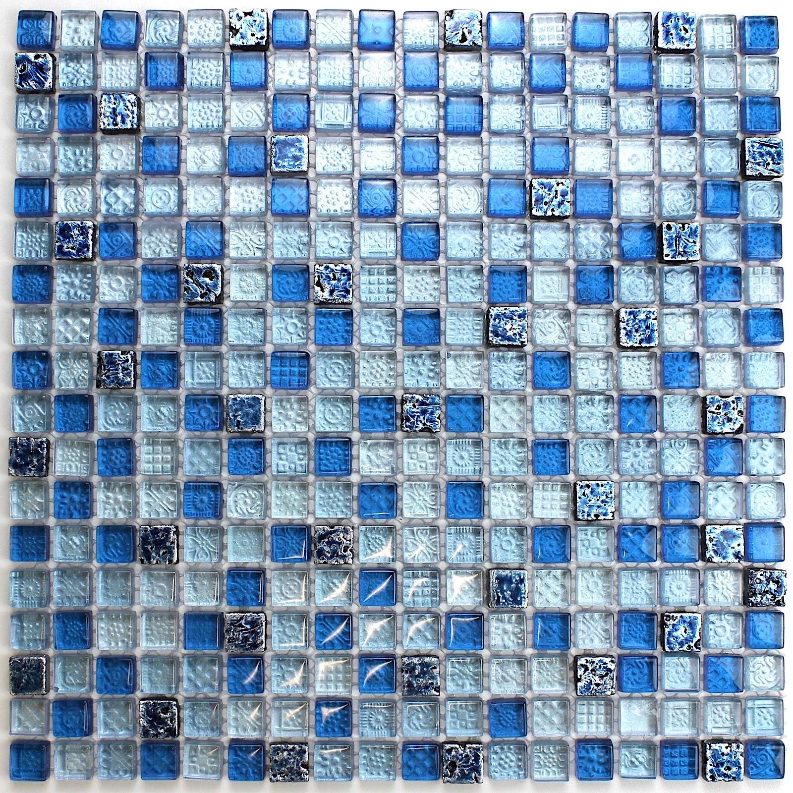 Mosaique bleu de verre et pierre Dimas - carrelage-mosaique