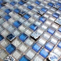 Mosaique bleu de verre et pierre Dimas