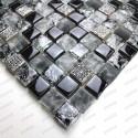 Mosaique noir en verre et pierre Osana