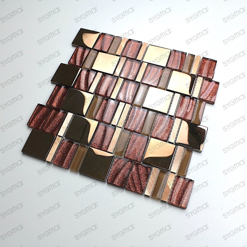 Glass mosaic aluminium tile wall for kitchen and bathroom mv-glit