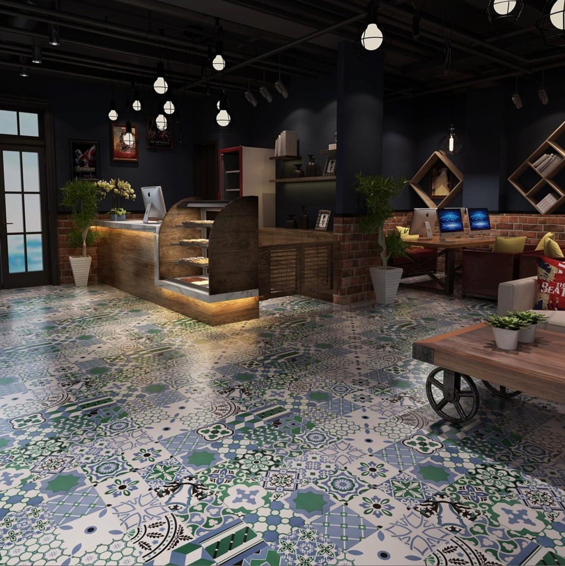 Carrelage Gres Cerame Imitation Ciment patchwork carreaux ciment crédence cuisine, fond de hotte limana