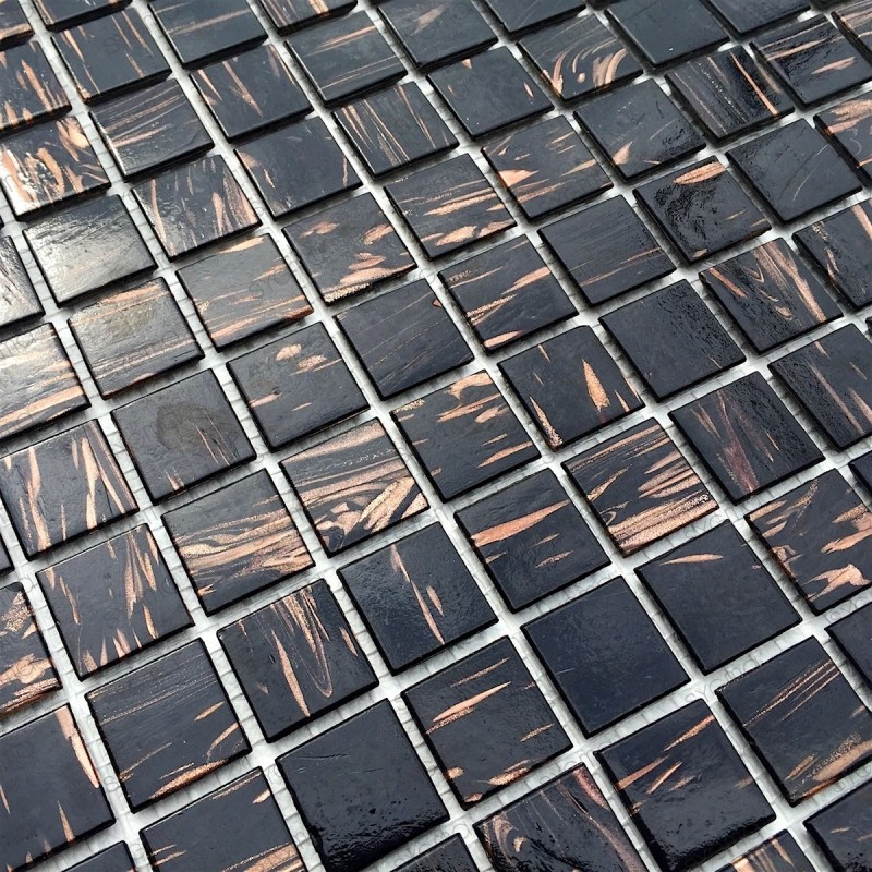 mosaique pate de verre pour salle de bain douche cuisine vitro noir 1m2