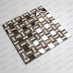 Mosaique carrelage marbre et inox mp-lotta