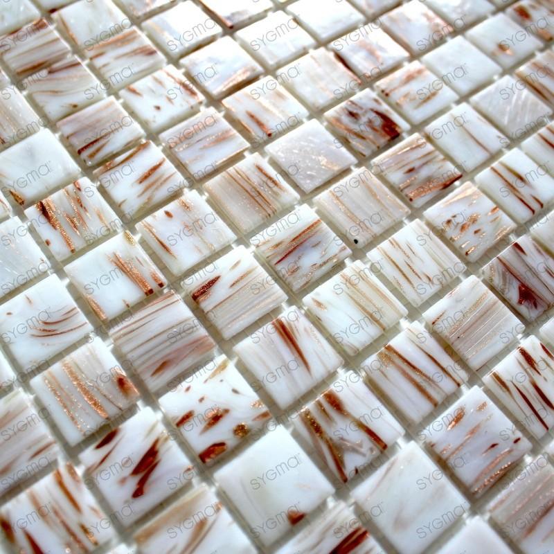 Mosaique pate de verre pour douche et cuisine vitro blanc 1m2 - Carrelage pate de verre salle de bain ...