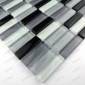 carrelage verre mosaique Rectangular Noir