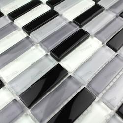mosaico de vidrio cocina y bano modelo Rectangular Negro 1m2