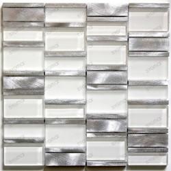 mosaïque de salle de bain et cuisine aluminium et verre Ceti blanc