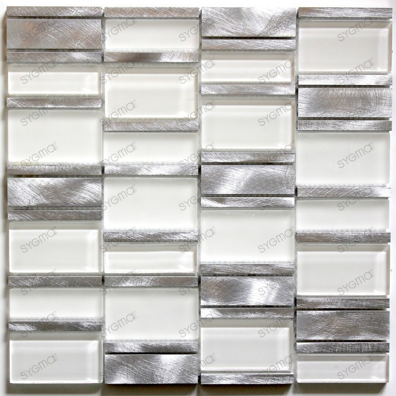 mosaic of bathroom and kitchen aluminum and white Albi Blanc