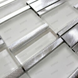 mosaico aluminio frente cocina ducha baño 1m ALbi Blanc