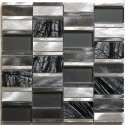 mosaic of bathroom and kitchen aluminum and glass 1m Albi Gris