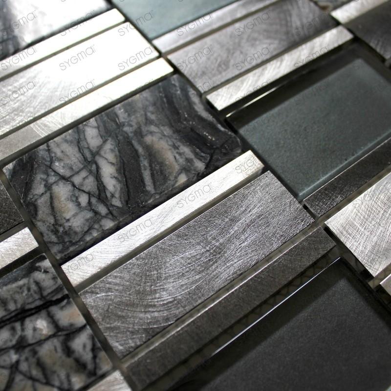Mosaique aluminium pour crédence de cuisine ou douche cet gris 1m2