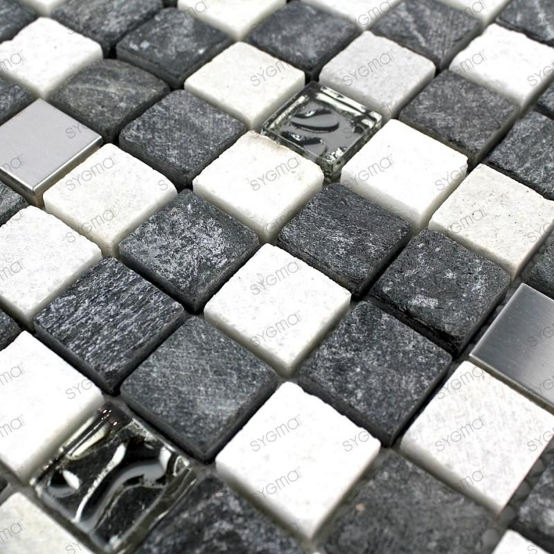 carrelage salle de bain mur et sol en verre pierre et acier ETHNO