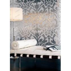 mosaïque pate de verre 0,25m2 motif art Baroque silver
