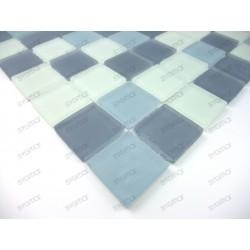 Mosaique carrelage verre 1 plaque MAT GRIS