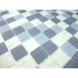 Mosaique douche carrelage verre 1m2 mat gris